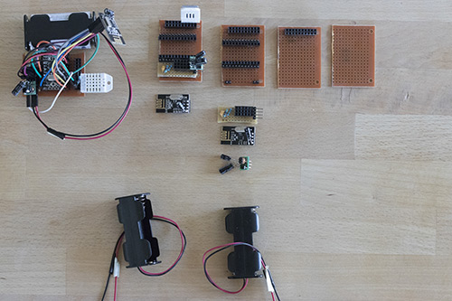 Various stages of my sensor nodes