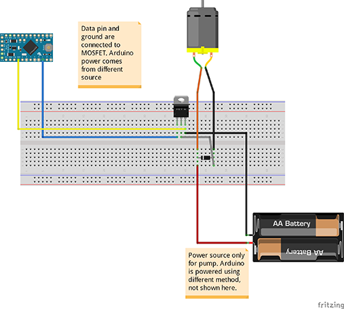 Connecting Arduino and a pump to water plants